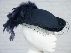b96e52c4206a2 £34.99 (BIN) FPP VINTAGE Hat Blue Pill Box Face Veil Feather Plume  Victorian Goodwood Wedding  LC  Pillbox  Wedding