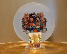 Fall Plate And Candleholder With Scarecrows, Pumpkins, Fall Leaves, Apples And More - 3 Piece Set by DontForgetTheFlowers on Etsy Flickering Lights, Flameless Candles, Pillar Candles, Wrapping Paper Bows, Fall Candles, Votive Holder, Charger Plates, Fall Leaves, Fall Pumpkins