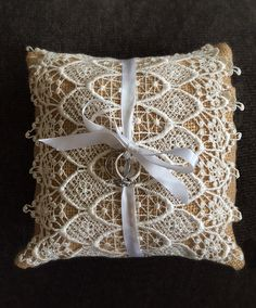Only $14.99!! Burlap and lace... What a beautiful combination!   * This gorgeous wedding ring pillow is made from the best quality 100% pure untreated burlap! #burlap #ringbearerpillow