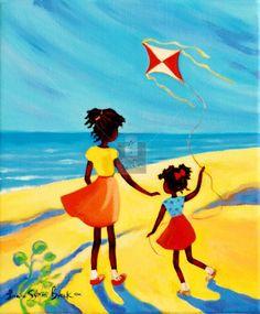 Caribbean Art - Janice Sylvia Brock - One Kite Art gives me life African American Art, African Art, Haitian Art, Caribbean Art, Tropical Art, Afro Art, Arte Pop, Art For Kids, Art Children