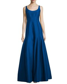 """Halston Heritage paneled jacquard gown. Approx. length: 57""""L down center front, 54""""L down center back. Scoop neckline and back. Sleeveless; thin straps. Fitted through hips. Pleated tulip skirt. Conce"""