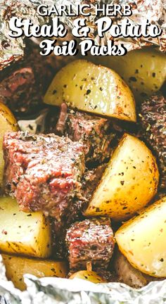 Garlic Herb Steak and Potato Foil Packs – Steak and potatoes seasoned with garlic and herbs and cooked inside foil packets. They can be cooked on the grill OR in the oven, and are perfect for camping or a summertime dinner. #steak #potatoes #dinnerrecipes #grilling #campingfood