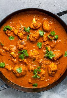 Cauliflower florets simmered in a spiced curry sauce with cream and cilantro Curry Recipes, Veggie Recipes, Indian Food Recipes, Vegetarian Recipes, Dinner Recipes, Cooking Recipes, Healthy Recipes, Ethnic Recipes, Vegetarian Butter Chicken