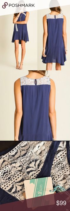 NWT Blue Boho Lace Flowy Sleeveless Dress Tunic High lo sleeveless blue & white lace high quality boutique dress UMGEE -flowy white lace crochet detailing -key hole button -relaxed easy fit -Soft/breathable. true to size 65% Cotton 35% Polyester -IMPORTANT sizing: 4th picture -go by measurements/NOT by size. -PRICE FIRM. No Returns/trades. Bundle discount available -ask Qs MY MEASUREMENTS: 5'4 130lb 34C. Bust waist hips: 35, 27, 38. SMALL is perfect for ME. UMGEE Dresses Mini