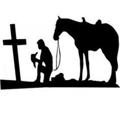 Praying Cowboy Die-Cut Decal Car Window Wall by BeeMountainVa