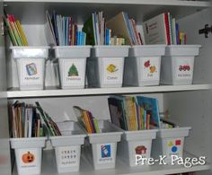 Read aloud book storage and organization via www.pre-kpages.com