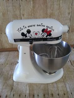 """""""This is where baking begins"""" fun Boy/Girl Mousepeeker for your Kitchenaid mixer or other appliance. This is a great gift Decal is a permanent 6 year decal. Can be removed but not reused. Decal measures about Disney Parks, Disney Merch, Disney Mugs, Cocina Mickey Mouse, Mickey Mouse Kitchen, Disney Desserts, The Farm, Disney Kitchen Decor, Disney Home Decor"""