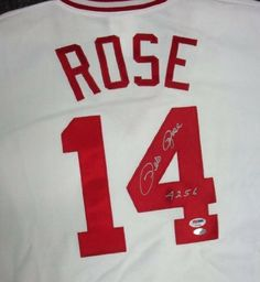 b374460db Pete Rose Autographed Hand Signed Cincinnati Reds Majestic Jersey 4256 PSA  DNA by Hall