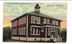 W-E-Burgess-Scottsville-VA-postcard-of-High-School-Alberene-VA-unused