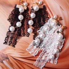 women concept - summer pretty opalescent pearl n sexy lace earrings(mysterious black/angel white) is available at Department Golden Pineapple Please PM/emails us for further info Black Angels, Lace Earrings, Party Looks, Summer Looks, Mysterious, Pineapple, Concept, Pearls, Sexy