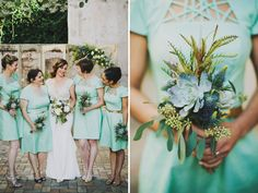Bridesmaids in mint Modcloth dresses