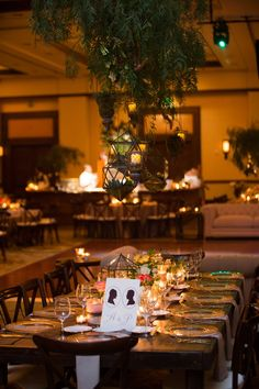 Geometric Terrariums & Greenery Above Candlelit Tablescape | Photography: Paul Barnett Photographer. Read More:  http://www.insideweddings.com/weddings/bohemian-outdoor-garden-wedding-ceremony-rustic-reception/830/