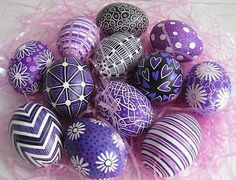 Purple decorated eggs