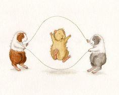 Double Dutch - Cute Guinea Pigs Jumping Rope Art Print 8x10. $18.00, via Etsy.