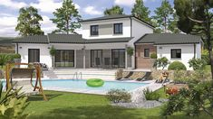 Facade House, Habitats, Pergola, Villa, Construction, Patio, Mansions, Architecture, House Styles