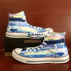 d7754e8612f150 Custom Converse shoes Swan Hand Painted Lakeside Canvas Sneaker