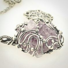 """""""Naica"""" Amethyst Crystal, Sterling and Fine Silver Wire Wrapped Necklace by Sabrinah Renee, boutique jeweler"""