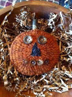 Primitive Folk Art Hooked Rug Hooking Pumpkin by marshallcountry