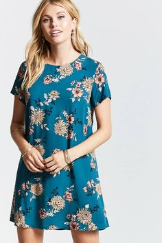 Product Name:Contemporary Floral Shift Dress, Category:dress, Price:14.9