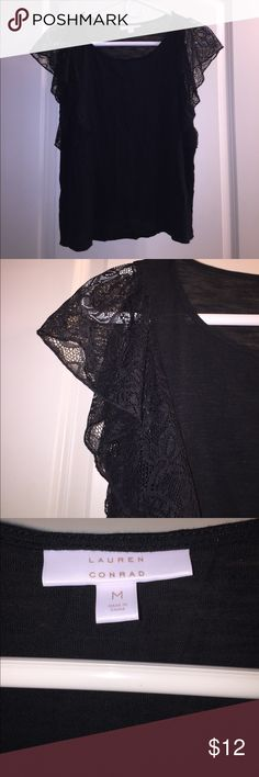 ✨FLASH SALE✨LC Lauren Conrad Black Lace Top LC Lauren Conrad Black Lace Ruffle Sleeve Top - perfect condition - never worn. Perfect for work, date night, hanging with friends, etc. LC Lauren Conrad Tops Blouses