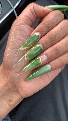 St patty's day Long Acrylic Nails, Long Nails, Gorgeous Nails, Pretty Nails, Amazing Nails, Jade Nails, Jelly Nails, French Nail Designs, Nails Only