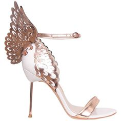 Sophia Webster Evangeline leather sandals ($624) ❤ liked on Polyvore featuring shoes, sandals, heels, gold, heeled sandals, leather shoes, genuine leather shoes, butterfly heel shoes and butterfly shoes
