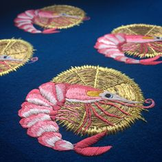 Embroidered prawns with goldwork – Ellie Mac Embroidery Hand Embroidery Projects, Embroidery Works, Hand Embroidery Stitches, Embroidery Needles, Cross Stitch Embroidery, Broderie Simple, Ellie And Mac, Fabric Yarn, Gold Work
