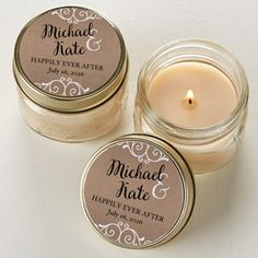 Rustic Chic Wedding Personalized Mason Jar Candle Favors