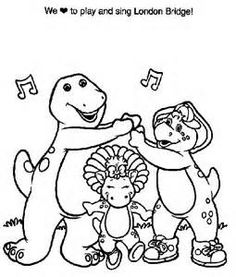 Barney And Friends Coloring Pages On Book