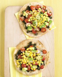 A medley of veggies –- scallions, corn, jalapenos, tomatoes, beans, and avocado –- ensures that meat won't be missed on this tasty tostada.