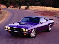 Purple inspiration. The Dodge Challenger of the 1960's was related to the Plymouth Barracuda,