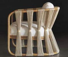 Kombinasi material rotan atau kayu (Pak Is) dengan teknik tenun ikat Bu Rita