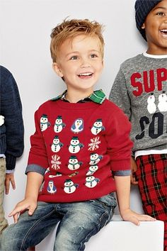 Boys Clothing Online - 3 months to 6 years - Next Red Snowman Crew Neck Top - EziBuy Australia