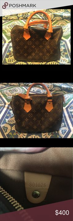Authentic Louis Vuitton Speedy 25 I bought this bag off tradesy it comes with Tradesy dust bag and Lock. A few water marks on the tabs.. there isn't and cracking or peeling or odor. This bag is in excellent condition😊 Please no lowball offers and I do not sell outside of posh so don't ask. Louis Vuitton Bags Satchels