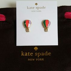 Kate Spade Hot Air Balloon earrings Wonderful Kate Spade Get Carried Away Hot Air Balloon earrings. These beautiful post earrings are very bright and colorful with green, hot pink, and lavander purple. The hanging basket has four crystals and does move, shown in last picture. Brand new unused and sold out in stores. Comes with dust bag. kate spade Jewelry Earrings