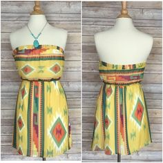"""🌞SALE🌞🎉🎊6/3 HP🎊🎉Aztec print dress M or L **PLEASE COMPARE YOUR MEASUREMENTS TO THE ONES NOTED.  ALL MEASUREMENTS ARE TAKEN BY HAND  Super cute Aztec print strapless sundress  0-small 🔹🔹medium  0-large  Size small Bust 32 Waist 28  size medium bust 34 waist 30  Size large Bust 36 Waist 32  length from armpit down 25""""  brand new without tag  woven sheer print over solid lining Dresses"""