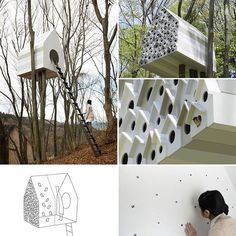 Birdhouse shaped treehouse designed by Nendo is for umans and birds: two birds with one stone #treehouse #birdhouse #mommodesignblog  design-milk.com