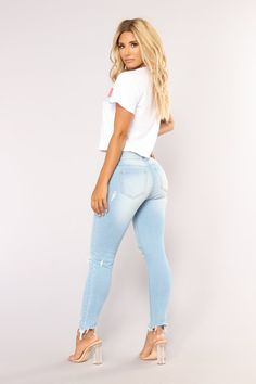 Available In Light Blue Wash And Medium Blue WashMid RiseStretch DenimFray Cotton SpandexImported Mode Outfits, Jean Outfits, One Piece Dress Short, Family Picture Outfits, Sexy Jeans, Skinny Jeans, Ankle Jeans, Girls Jeans, Jeans Style