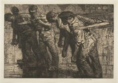 Frank Brangwyn, The Tow ROpe, etching, 1906