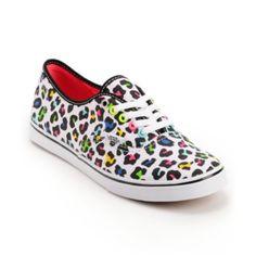 Vans Girls Authentic Lo Pro True White Leopard Print Shoe