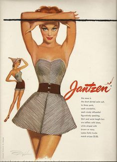 Summer Outfit Vintage Ad for Jantzen Swimsuits. Vintage Bathing Suits, Vintage Swimsuits, 1950s Fashion, Vintage Fashion, Vestidos Pin Up, Illustration Mode, Illustration Fashion, Illustrations, Vintage Outfits
