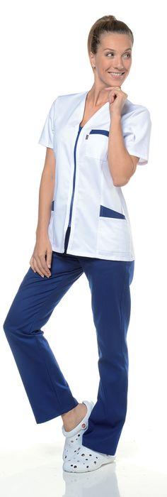 Blouse Vetement de Travail Veste Uniforme Salon Beaute esthetique Couleur Bleu Fonce Bordure Blanc