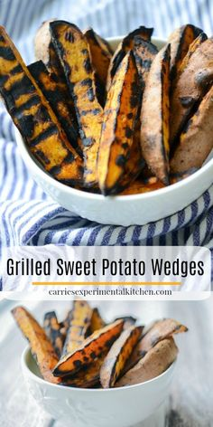 These Grilled Sweet Potato Wedges made with three ingredients are quick and easy to make, they'll be your new favorite Summer side dish. Grilled Side Dishes, Healthy Side Dishes, Vegetable Side Dishes, Side Dish Recipes, Grilling Sides, Healthy Grilling, Grilling Recipes, Vegetarian Grilling, Potatoes Grill