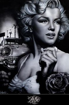 Marilyn monroe and 57 chevrolet. Marilyn Monroe Tattoo, Pop Art Marilyn Monroe, Marilyn Monroe Wallpaper, Marilyn Monroe Portrait, Marilyn Monroe Quotes, Pin Up, Lowrider Art, Norma Jeane, Tattoo Ideas