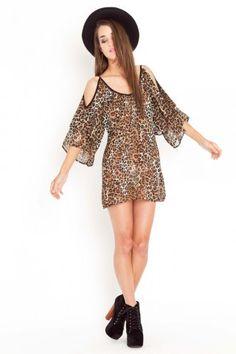 Leopard Cutout Dress $58