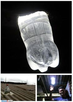 Talk about using ingenuity and simplicity to solve a difficult situation. In the Philippines, to bring sustainable lighting to homes in impoverished communities, empty plastic bottles are being installed in ceilings. Filled with water and bleach, they refract sunlight, and provide light equivalent to a 55watt light bulb.