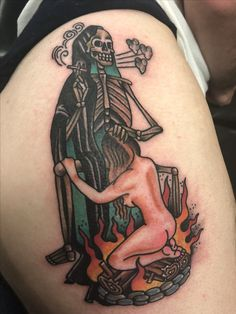 traditional tattoo  sailor jerry  american traditional skull tattoo reaper blow job fire