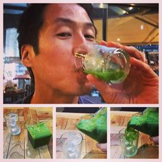 Green Juice of Day:  Kale, Spinach, Romaine, Apple, Romaine, Cucumber, Celery, Lemon...salad in a glass!
