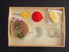Flower arranging tray contributed by Montessori En Casa on MontessoriBloggersNetwork.com