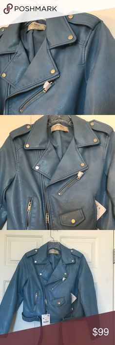 MWT Zara Blue Moto Jacket Faux leather light blue moto jacket with tags and gift receipt (if asked for) from Zara. Price is pretty firm but reasonable offers or large bundles I will consider lower price. Zara Jackets & Coats